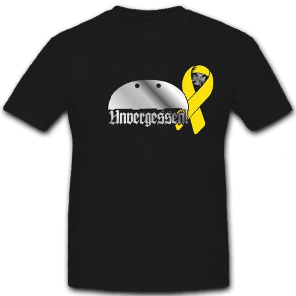 Unvergessen Gelbe Schleife Bundeswehr Gefallenen Auslandseinsatz - T Shirt #5865