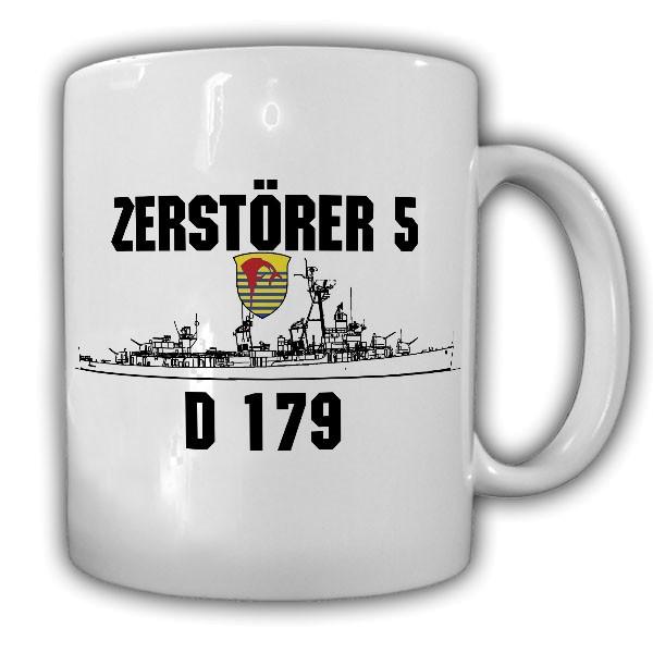 Tasse Zerstörer 5 D179 Bundesmarine Bundeswehr Schiff Becher Emblem #20365