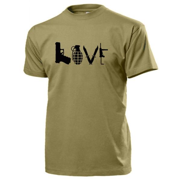 LOVE Waffen Pistole Granate Messer Kampfmesser MP - T Shirt #14610
