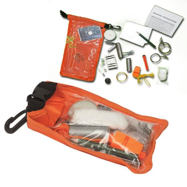 Survival Pack Zivil Orange Outdoor Notfallpackung Set Dry Bag Signalfarbe #16901