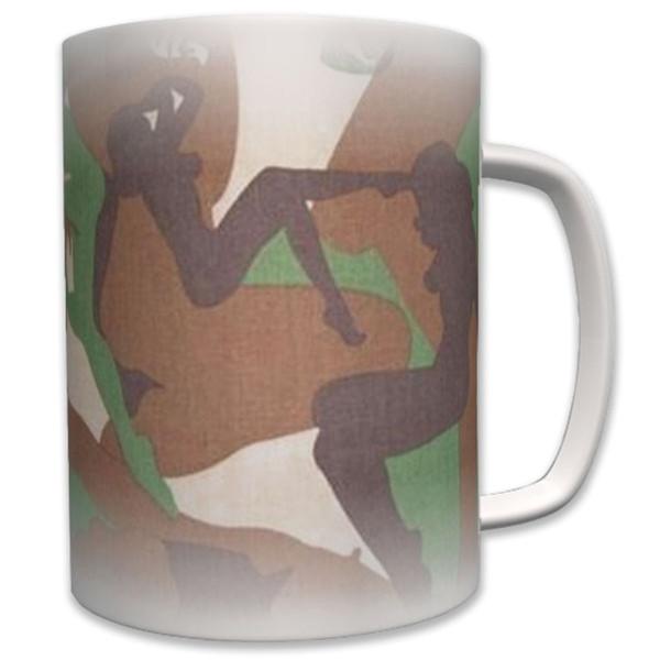 Girl Camouflage Tarnmuster Frau Silhouette - Tasse Becher Kaffee #6359
