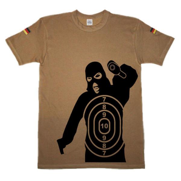 Shooter Zielscheibe Schütze Räuber Waffe Übung original Tropenshirt #14615