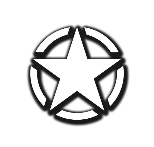 Army Stern weiß Militär Aufkleber Stern Amerika KFZ Willys 15x15cm #A4593