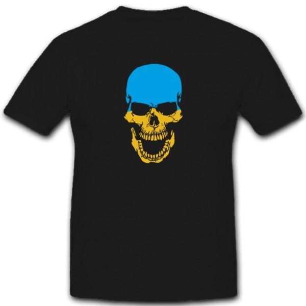 Ukraine Skull Totenkopf Ukrajina Fahne Flagge - T Shirt #11335