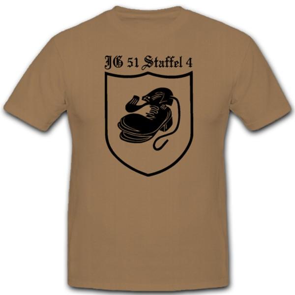 4./JG51 4.Staffel Jagdgeschwader 51 Luftwaffe WK 2 Wh Wappen Emblem Stiefel - T Shirt Herren khaki #