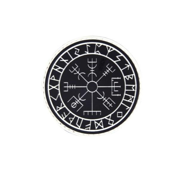 Patch Vegvisir 3D Rubber Wikinger Kompass Runen Götter Schutz Schild 6cm #23273