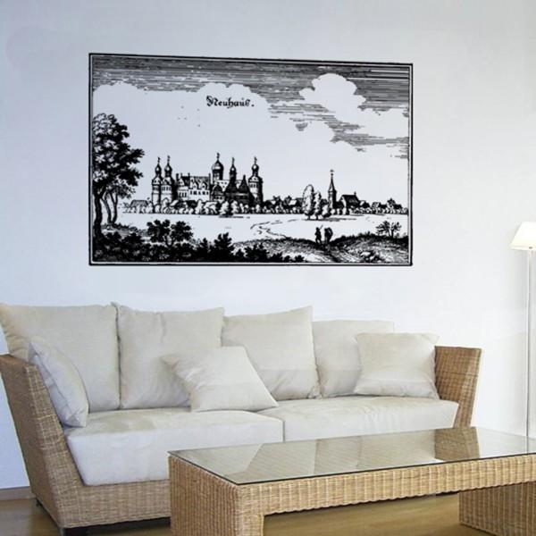 Stadt Neuhaus Kupferstich Mittelalter Schloss - Wandschmuck Wandtattoo #1201