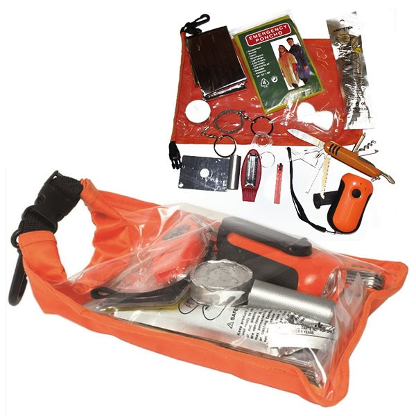 Survival Pack Zivil Orange Outdoor Notfallpackung Set Sack Signalfarbe #16902