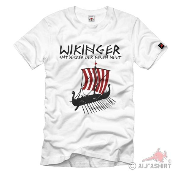 Viking Explorer New World Lance Spear Ship Flag Teutonic - T Shirt # 1226