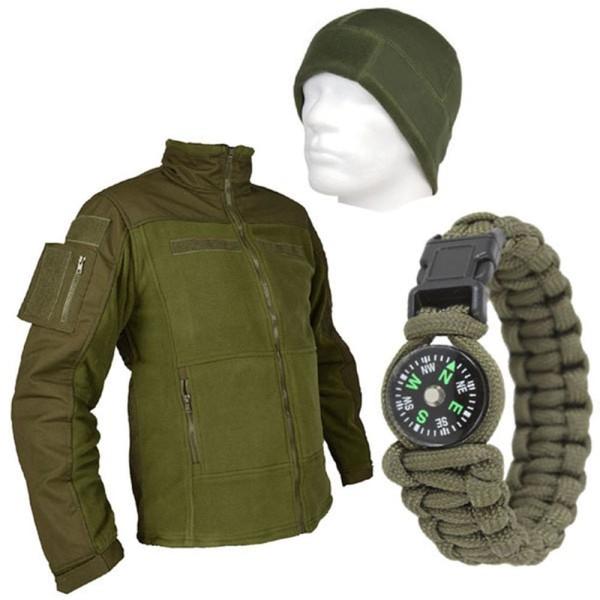 Tactical Outdoor Set Fleece Hat Paracord Bracelet and Commando Fleece Jacket 13589