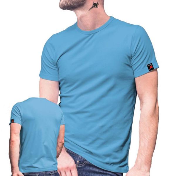 T-Shirt hellblau Herren Rundhals 100% Ringspinn-Baumwolle Jersey 185 g-m² #12819