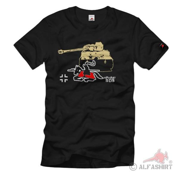 sPzAbt 505 Heavy Panzer Division Tiger Panzer WH Wappen Reiter - T Shirt # 1285