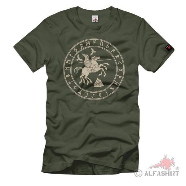 Sleipnir Gott Wotan Pferd Raben Skandinavierrunen T-Shirt#36782