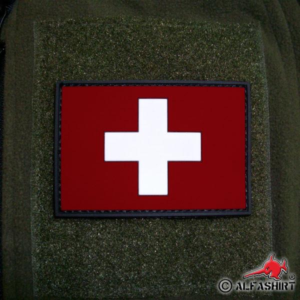 3D Rubber Patch Schweiz Schweizer Streitkräfte Armee Fahne Flagge 8x5cm #16257