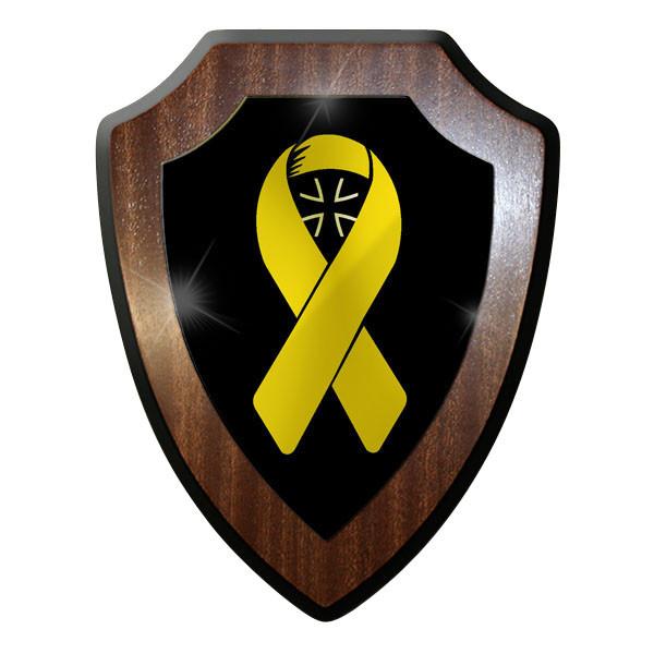 Wappenschild / Wandschild - Gelbe Schleife Unterstützt Truppen Bundeswehr #9048