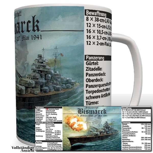 Bismarck mit Daten Schlachtschiff Kaiserliche Marine Wappen Tasse #3270