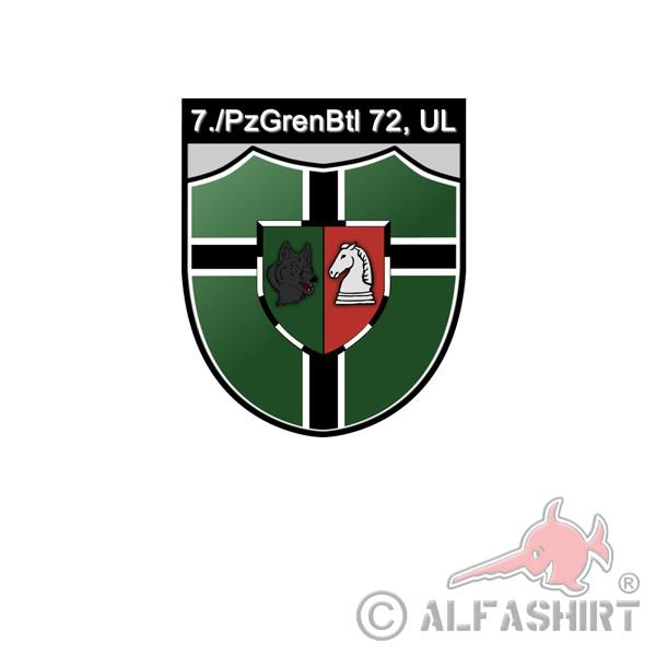 7 Company PzGrenBtl 72 UL Panzergrenadierbataillon Sticker 7x7cm # A4097