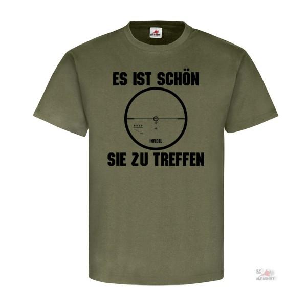 Es ist schön Sie zu treffen Fadenkreuz Humor Fun Sniper Schütze T-Shirt #19503