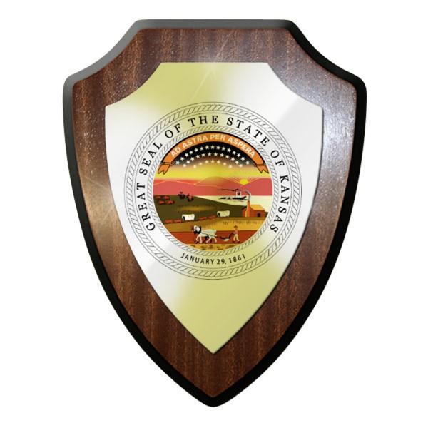 Wappenschild - The State of Kansas City Siedler Segler USA Amerika #11944