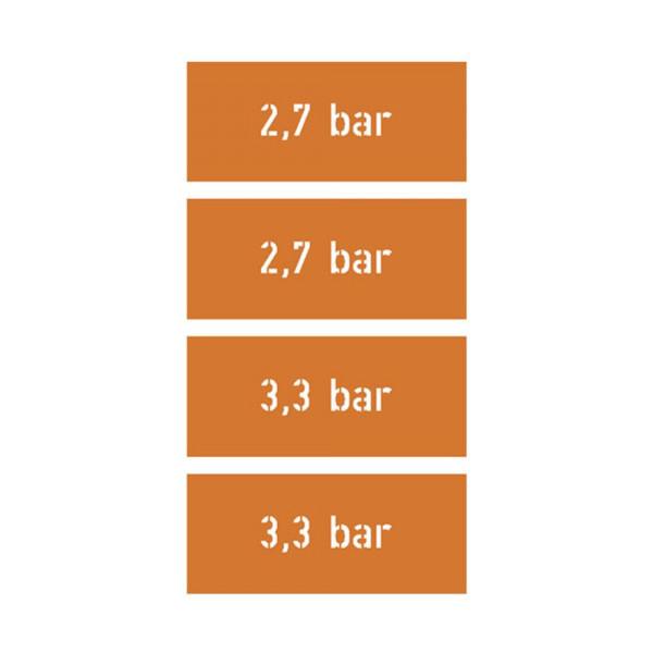 Personalisierbar Lackierschablonen Aufkleber Reifendruck bar Bus 4x 8x2cm #A2349