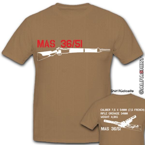MAS 36 51 Gewehr Frankreich Französisches Hemd Militär Waffe - T Shirt #10511