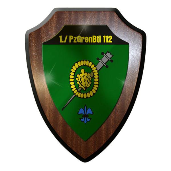 Wappenschild / Wandschild -1 PzGrenBtl 112 Bundeswehr Regen Abzeichen #12756