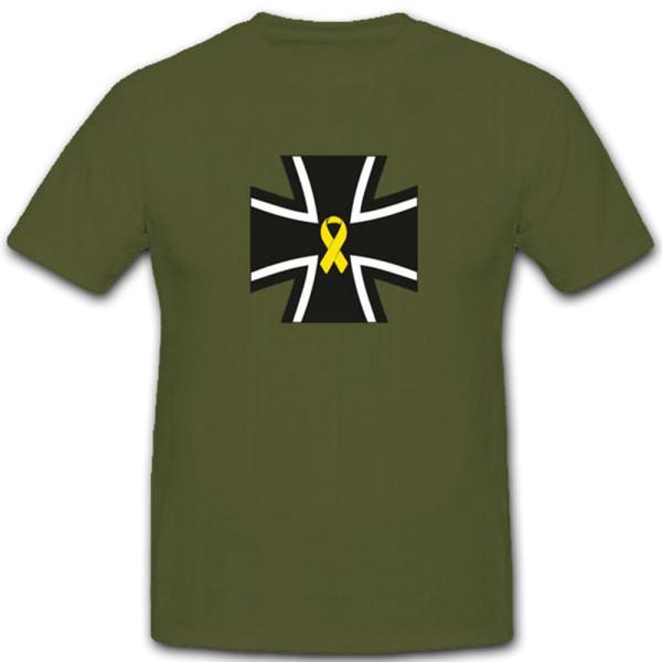 Gelbe Schleife Bw Kreuz Wappen Emblem Solidarität Militär - T Shirt #3968