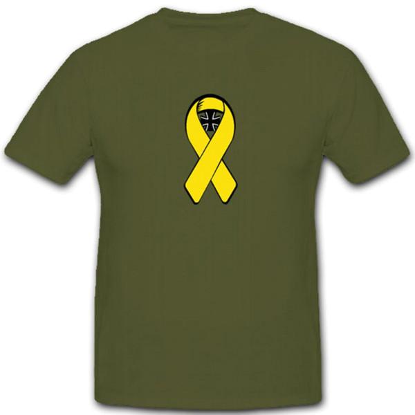 Gelbe Schleife Bundeswehr Bw Kreuz Wappen Emblem Solidarität- T Shirt #3967