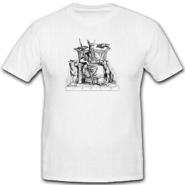 Odin Wikinger Mythologie Geschichte Gott Raben Wolf - T Shirt #7731