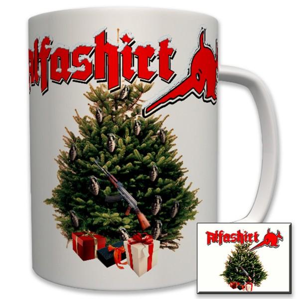 ALFASHIRT Christmas Weihnachten Christkind Tannenbaum Waffe - Tasse #6397