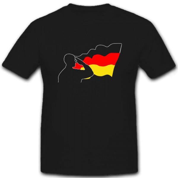 BW Soldat salutiert vor Fahne Deutschland schwarz rot gold - T Shirt #6892