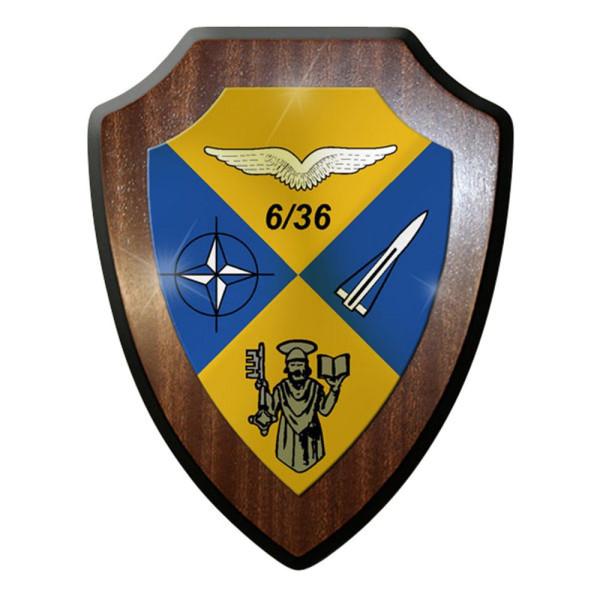 Wappenschild / Wandschild - 6 FlaRak Batterie 36 Flugabwehr Bw Emblem #12273
