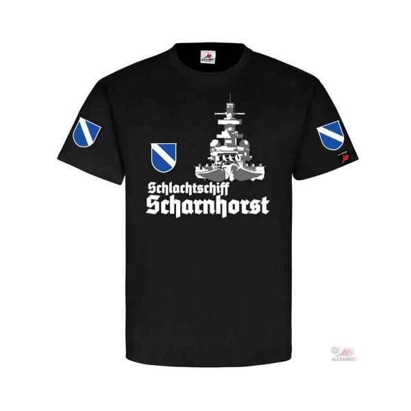Schlachtschiff Scharnhorst Front KSM Schiff Bug Geschützturm Hemd T-Shirt#32131