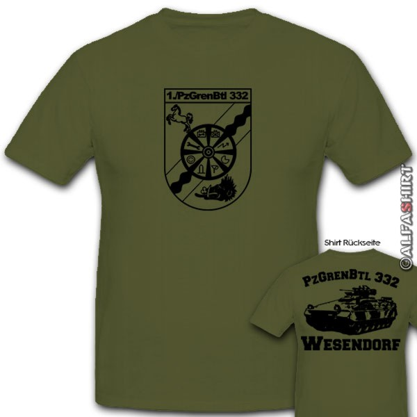 1 PzGrenBtl 332 Wesendorf-Bundeswehr Panzergrendier Bataillon - T Shirt #11085
