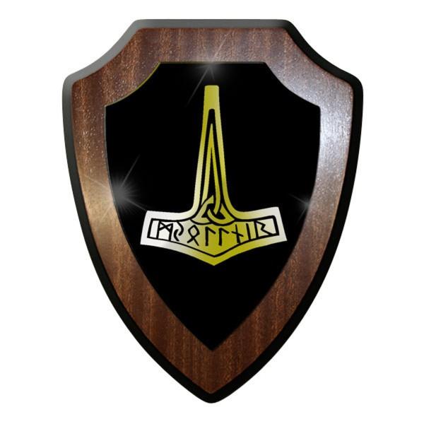 Wappenschild / Wandschild - Mjölnir Thors Hammer Thor Germanisch Odin #9609