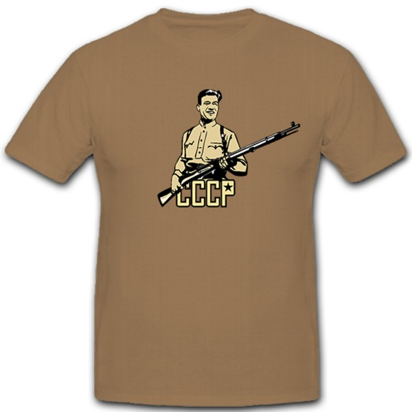 Russian soldier Russia CCCP Soviet Union weapon rifle - T-shirt # 11354