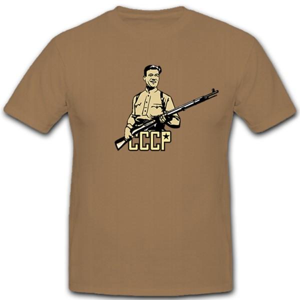 Russicher Soldat Russland CCCP Sowjetunion Waffe Gewehr - T Shirt #11354