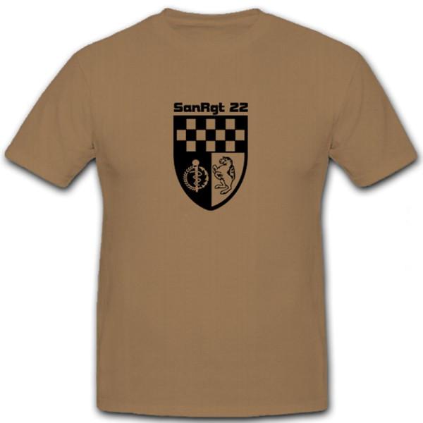 SanRgt 22 Tarnuniform Sanitäter Bundeswehr Regiment Abzeichen - T Shirt #5800