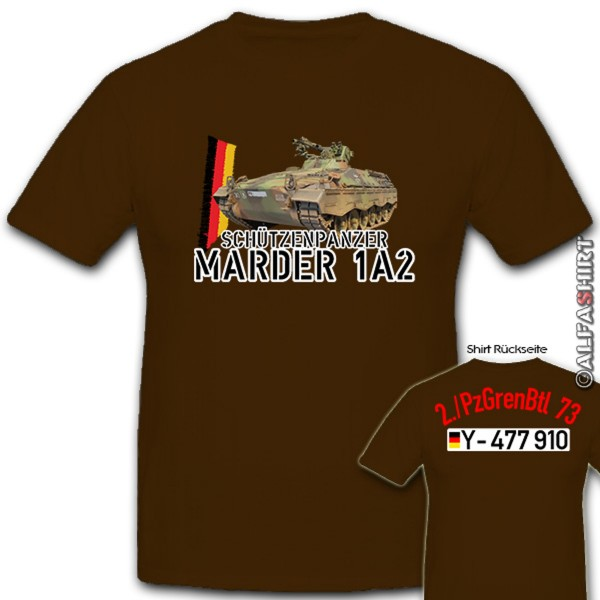 Armored personnel carrier Marder 1A2 2PzGrenBtl 73 Panzer Grenadier - T Shirt # 12301