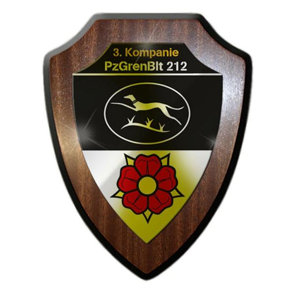 Wappenschild / Wandschild - 3. Kompanie PzGrenBtl 212 Panzer Bad #13345