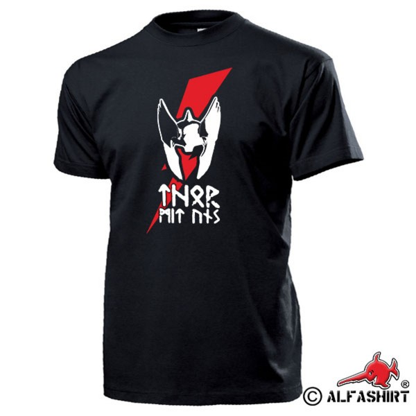 THOR WITH US Viking Thunder God Helmet Lightning Runes Teutons Donar T Shirt # 15634