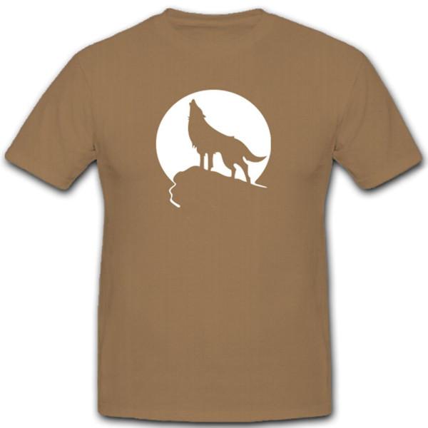 Wolf Tiere Wildnis Mond Mondschein Heulen Wölfin Tiere - T Shirt #11505