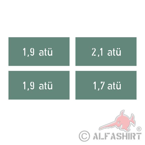 Lackierschablonenaufkleber Reifendruck - atü 1,7x6,5cm 8,90 #A4451