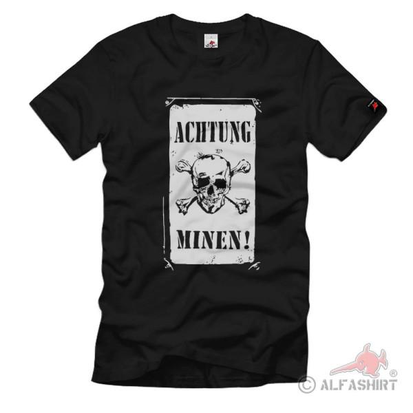 Warning mines warning signal sign skull t-shirt # 119