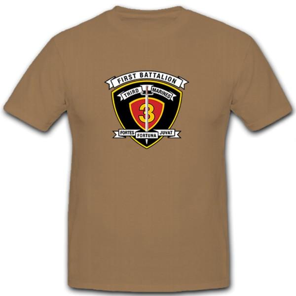 1st Battalion 3rd Marine Regiment USMC USA Army Crest Dagger - T Shirt # 11166