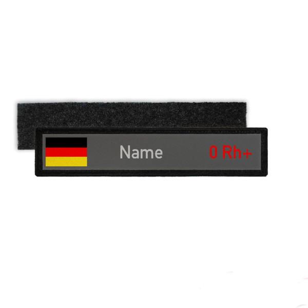 Namenschild Deutschland Blutgruppe 0 Rh positiv Bundeswehr BW Einheit #25860