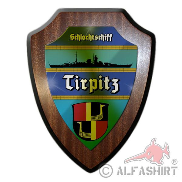 Heraldic ship Battleship Tirpitz Marine Schiff Fjord Wappen Tafel WW2 # 12062