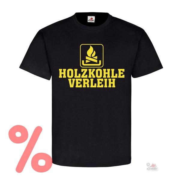 Gr. L - SALE Shirt Holzkohle Verleih Humor Kaminholz Brennstoff heizen #R279