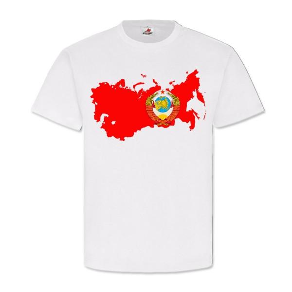 CCCP Russia Sowjetunion Russland UDSSR SSSR Wappen Landkarte - T Shirt #12871