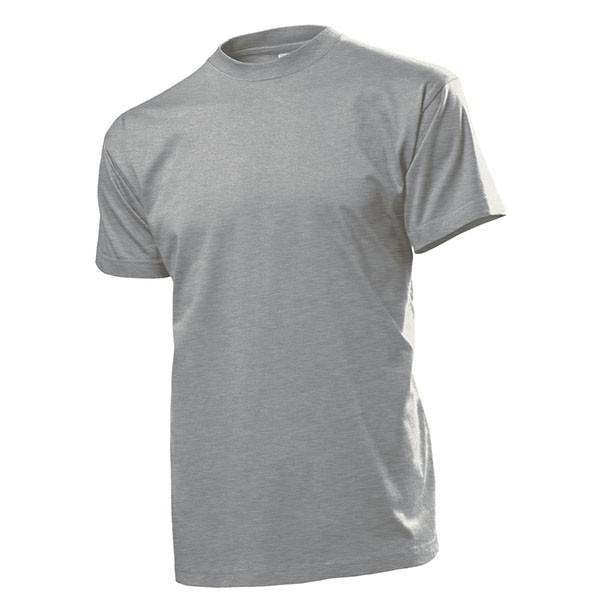 T-Shirt Grau Heather Hemd Rundhals 100% Baumwolle 185 g-m² - T Shirt #12828